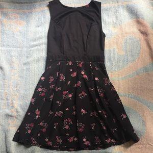 Xhilaration black floral sleeve-less dress